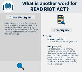 read riot act, synonym read riot act, another word for read riot act, words like read riot act, thesaurus read riot act