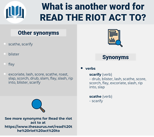 read the riot act to, synonym read the riot act to, another word for read the riot act to, words like read the riot act to, thesaurus read the riot act to