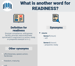 readiness, synonym readiness, another word for readiness, words like readiness, thesaurus readiness