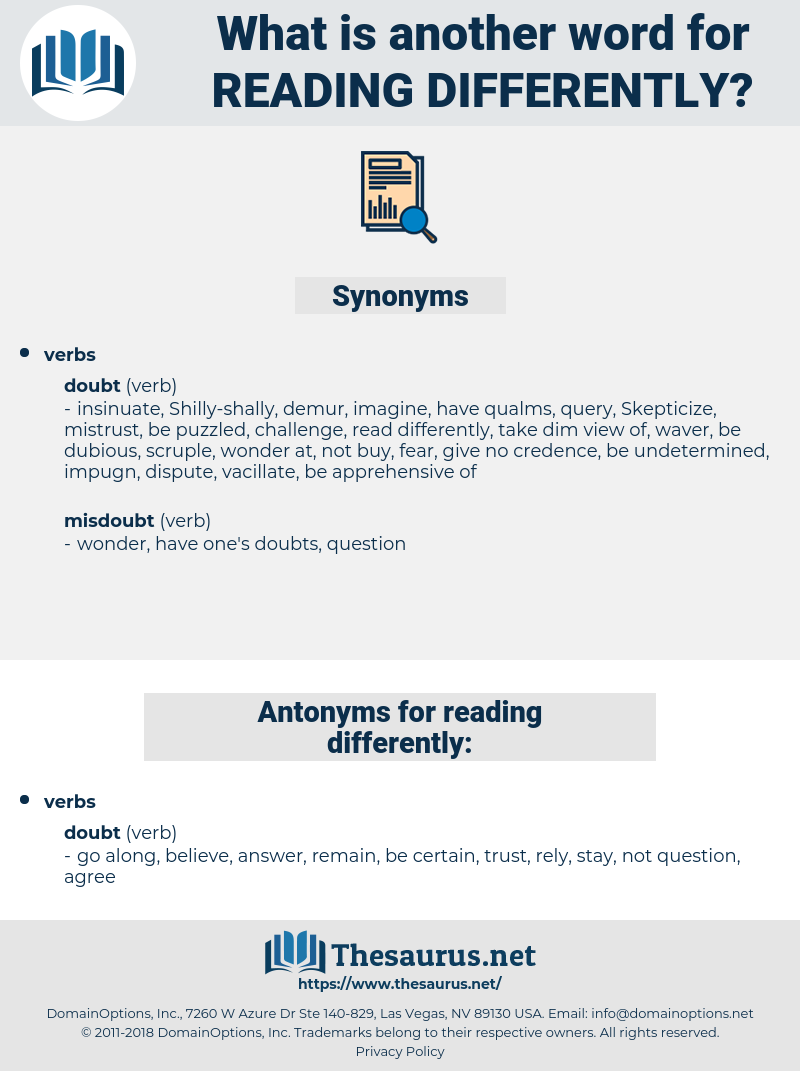 reading differently, synonym reading differently, another word for reading differently, words like reading differently, thesaurus reading differently