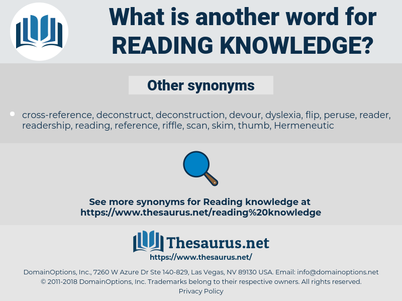 reading knowledge, synonym reading knowledge, another word for reading knowledge, words like reading knowledge, thesaurus reading knowledge