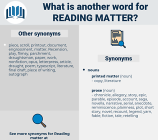 reading matter, synonym reading matter, another word for reading matter, words like reading matter, thesaurus reading matter