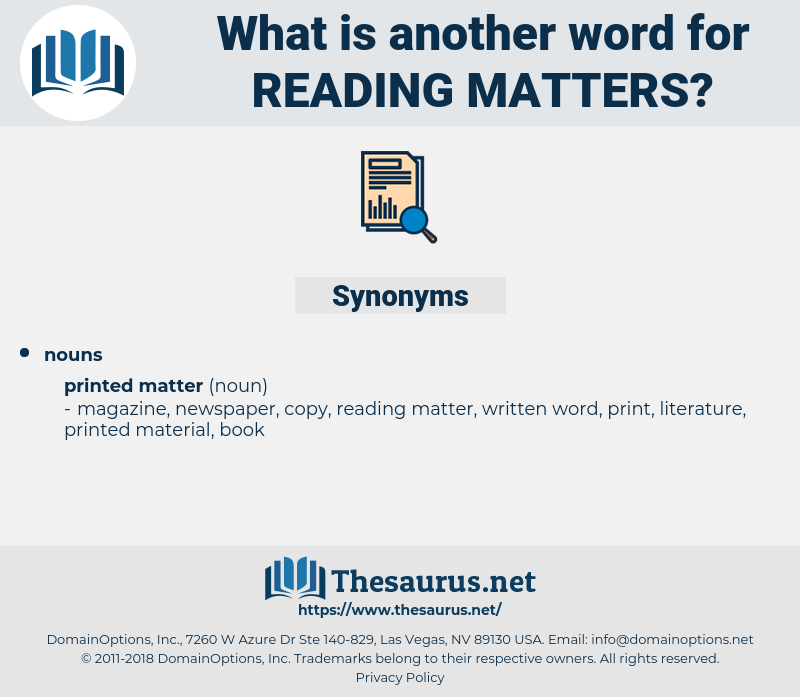 reading matters, synonym reading matters, another word for reading matters, words like reading matters, thesaurus reading matters