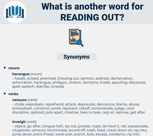 reading out, synonym reading out, another word for reading out, words like reading out, thesaurus reading out