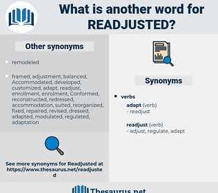 readjusted, synonym readjusted, another word for readjusted, words like readjusted, thesaurus readjusted