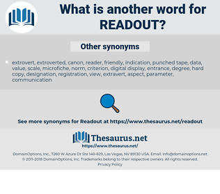 readout, synonym readout, another word for readout, words like readout, thesaurus readout