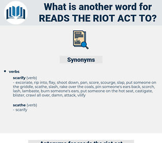 reads the riot act to, synonym reads the riot act to, another word for reads the riot act to, words like reads the riot act to, thesaurus reads the riot act to