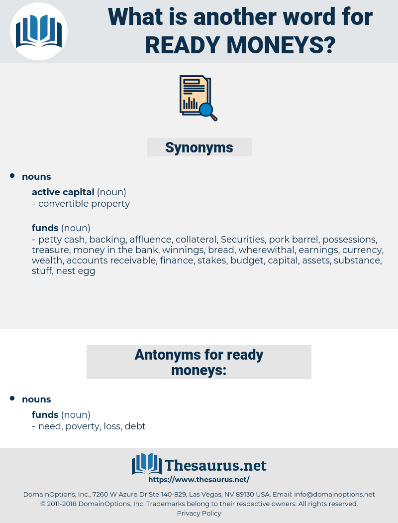 ready moneys, synonym ready moneys, another word for ready moneys, words like ready moneys, thesaurus ready moneys