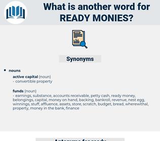 ready monies, synonym ready monies, another word for ready monies, words like ready monies, thesaurus ready monies