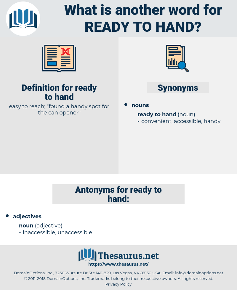 ready to hand, synonym ready to hand, another word for ready to hand, words like ready to hand, thesaurus ready to hand