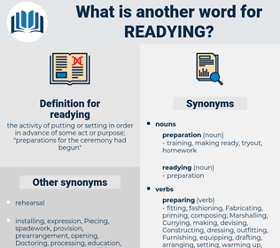 readying, synonym readying, another word for readying, words like readying, thesaurus readying
