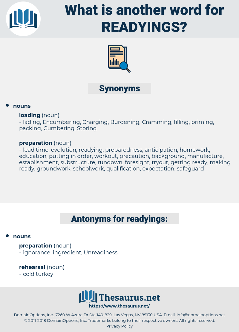 readyings, synonym readyings, another word for readyings, words like readyings, thesaurus readyings