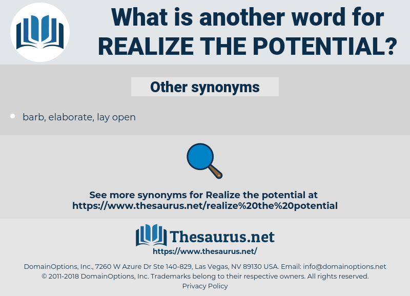 realize the potential, synonym realize the potential, another word for realize the potential, words like realize the potential, thesaurus realize the potential