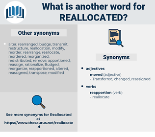 reallocated, synonym reallocated, another word for reallocated, words like reallocated, thesaurus reallocated