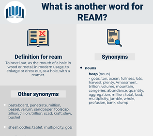ream, synonym ream, another word for ream, words like ream, thesaurus ream