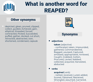 Reaped, synonym Reaped, another word for Reaped, words like Reaped, thesaurus Reaped