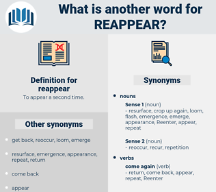 reappear, synonym reappear, another word for reappear, words like reappear, thesaurus reappear