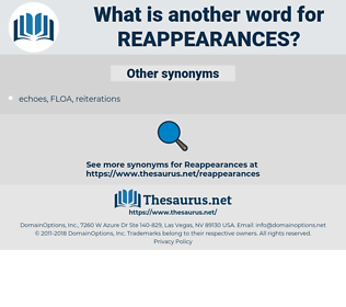reappearances, synonym reappearances, another word for reappearances, words like reappearances, thesaurus reappearances