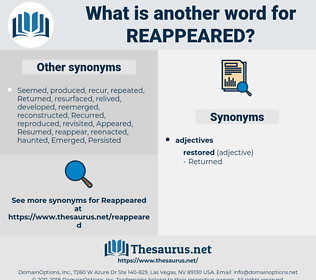 reappeared, synonym reappeared, another word for reappeared, words like reappeared, thesaurus reappeared