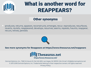 reappears, synonym reappears, another word for reappears, words like reappears, thesaurus reappears