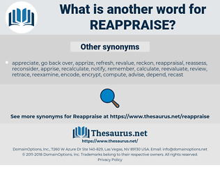 reappraise, synonym reappraise, another word for reappraise, words like reappraise, thesaurus reappraise