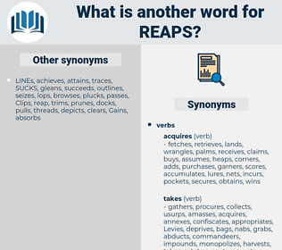reaps, synonym reaps, another word for reaps, words like reaps, thesaurus reaps