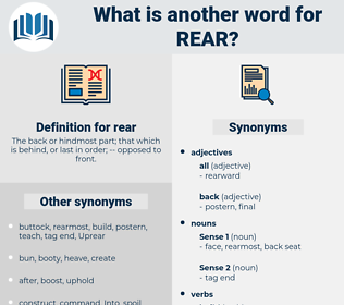 rear, synonym rear, another word for rear, words like rear, thesaurus rear