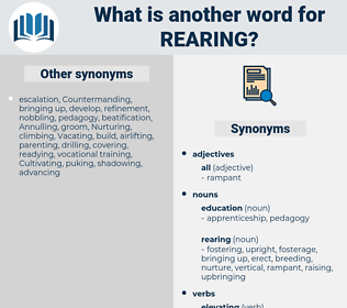 rearing, synonym rearing, another word for rearing, words like rearing, thesaurus rearing