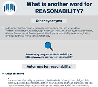 reasonability, synonym reasonability, another word for reasonability, words like reasonability, thesaurus reasonability