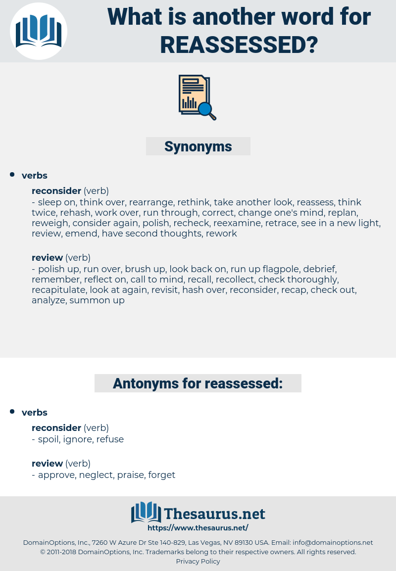reassessed, synonym reassessed, another word for reassessed, words like reassessed, thesaurus reassessed