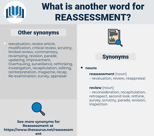 reassessment, synonym reassessment, another word for reassessment, words like reassessment, thesaurus reassessment