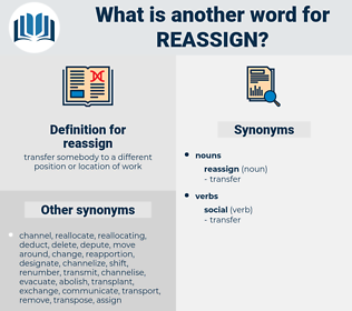 reassign, synonym reassign, another word for reassign, words like reassign, thesaurus reassign
