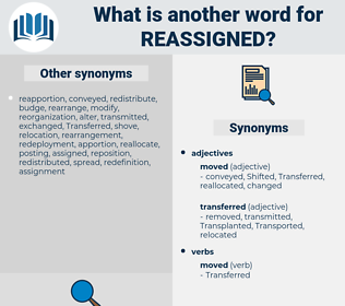 reassigned, synonym reassigned, another word for reassigned, words like reassigned, thesaurus reassigned