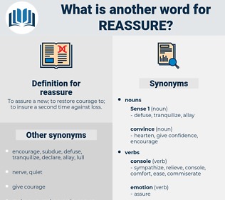 reassure, synonym reassure, another word for reassure, words like reassure, thesaurus reassure