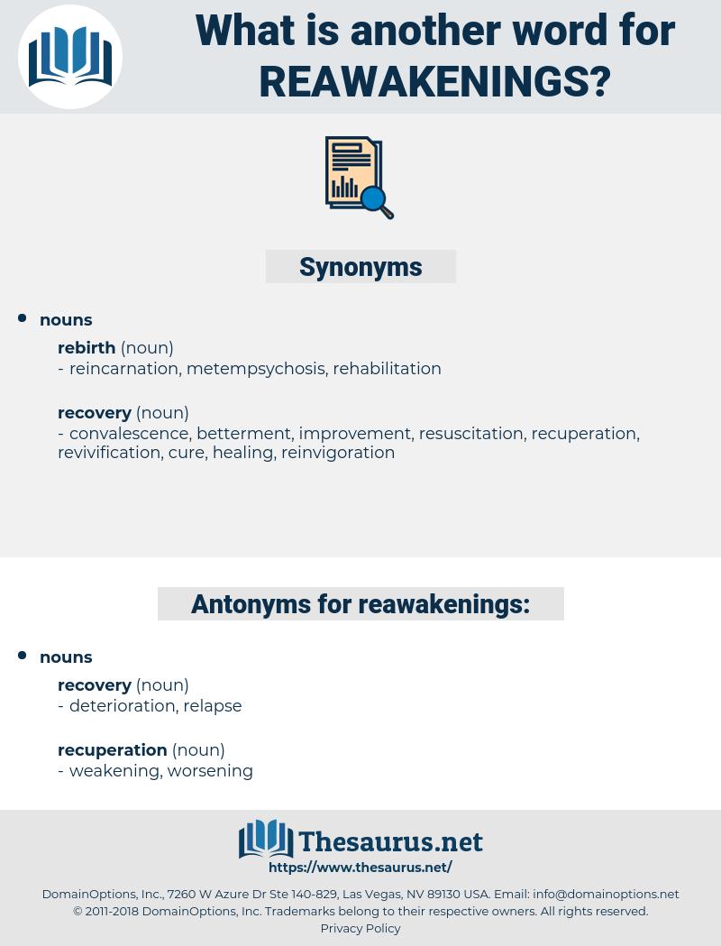 reawakenings, synonym reawakenings, another word for reawakenings, words like reawakenings, thesaurus reawakenings
