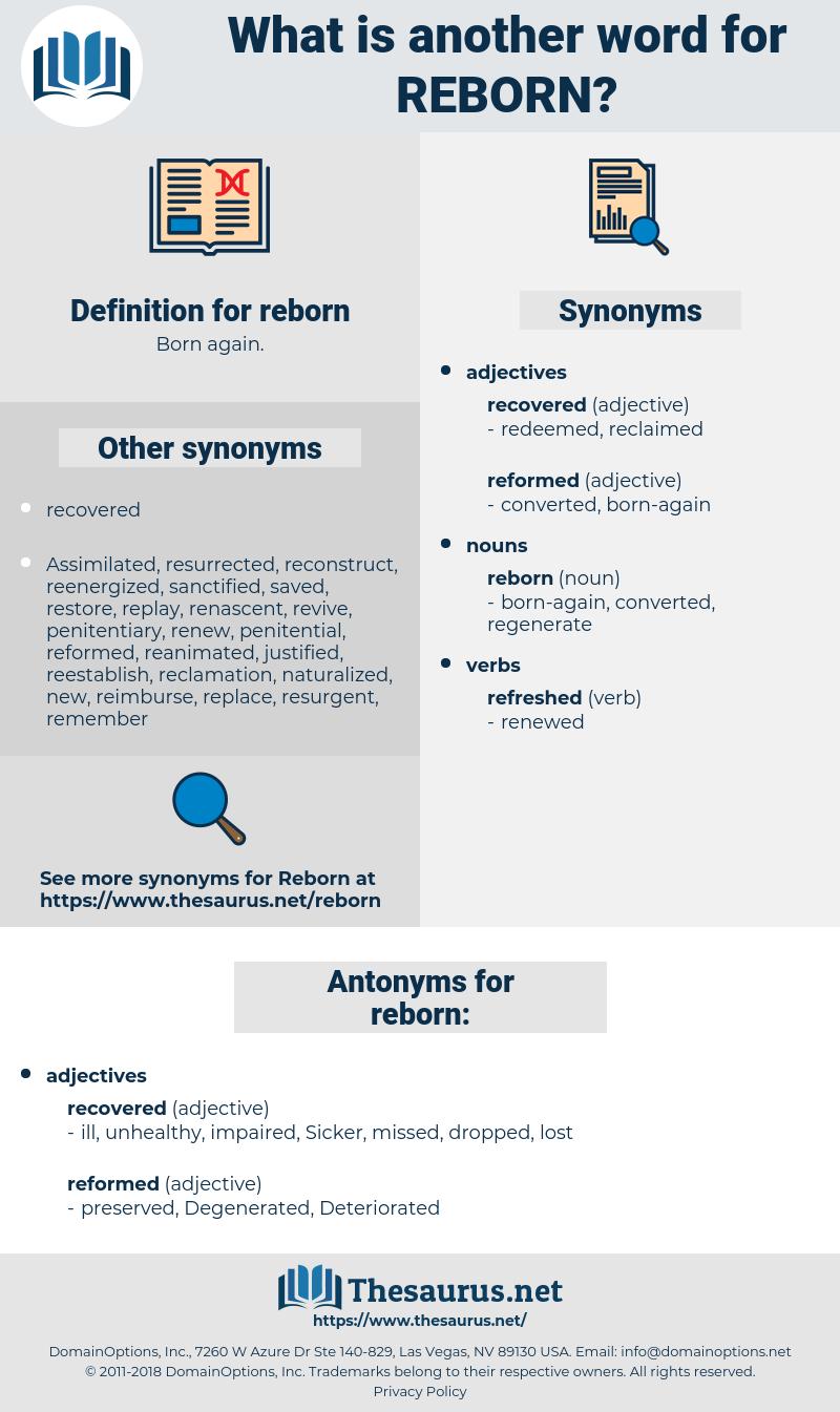 reborn, synonym reborn, another word for reborn, words like reborn, thesaurus reborn