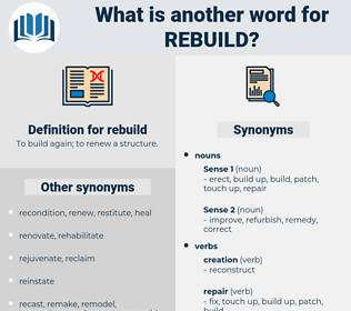 rebuild, synonym rebuild, another word for rebuild, words like rebuild, thesaurus rebuild