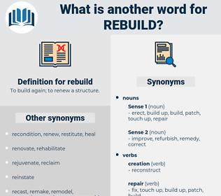 rebuild, synonym rebuild, another word for rebuild, words like rebuild, thesaurus rebuild