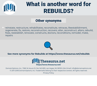 rebuilds, synonym rebuilds, another word for rebuilds, words like rebuilds, thesaurus rebuilds