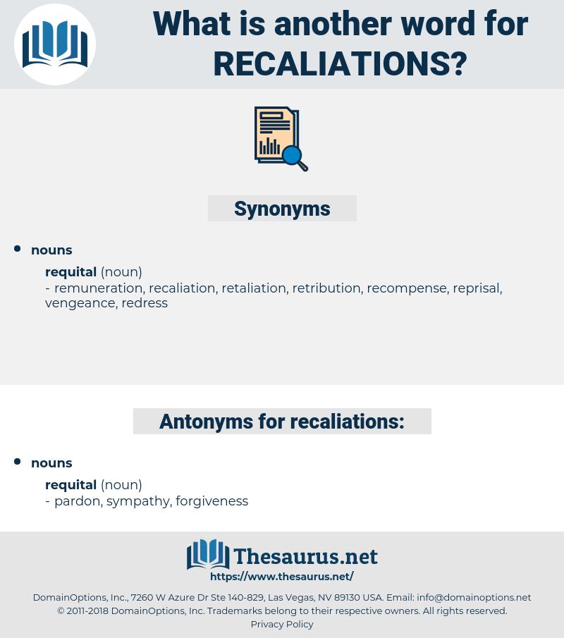 recaliations, synonym recaliations, another word for recaliations, words like recaliations, thesaurus recaliations