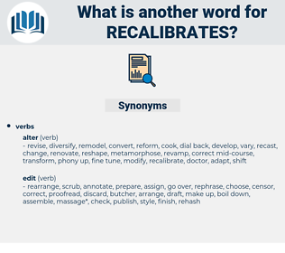 recalibrates, synonym recalibrates, another word for recalibrates, words like recalibrates, thesaurus recalibrates