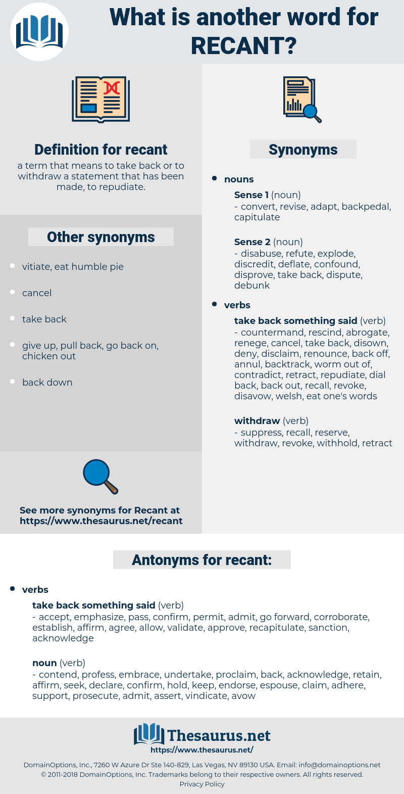 recant, synonym recant, another word for recant, words like recant, thesaurus recant