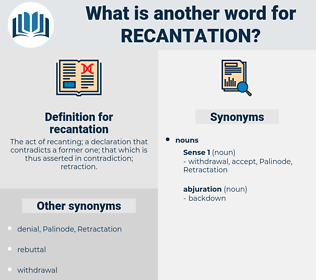 recantation, synonym recantation, another word for recantation, words like recantation, thesaurus recantation
