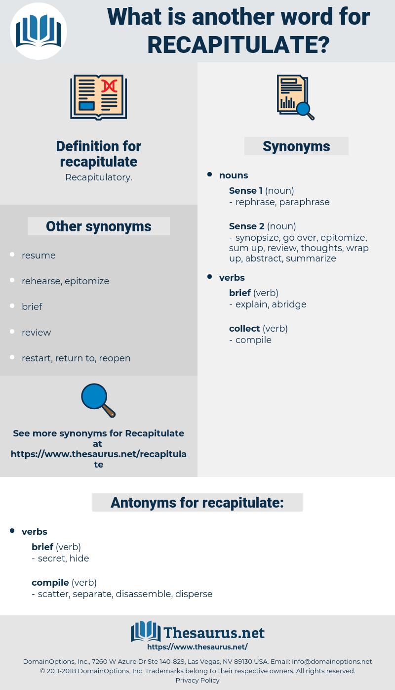 recapitulate, synonym recapitulate, another word for recapitulate, words like recapitulate, thesaurus recapitulate