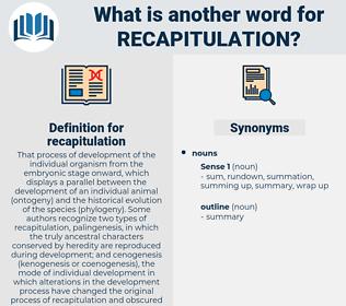 recapitulation, synonym recapitulation, another word for recapitulation, words like recapitulation, thesaurus recapitulation