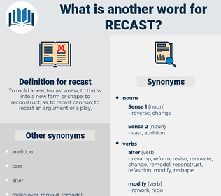 recast, synonym recast, another word for recast, words like recast, thesaurus recast