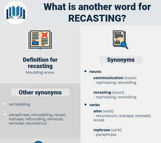recasting, synonym recasting, another word for recasting, words like recasting, thesaurus recasting