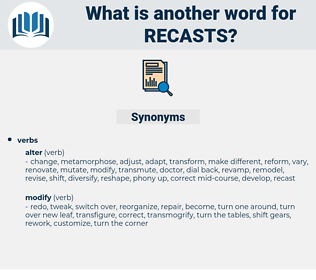 recasts, synonym recasts, another word for recasts, words like recasts, thesaurus recasts