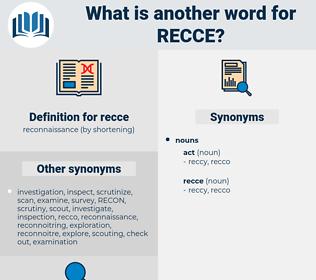 recce, synonym recce, another word for recce, words like recce, thesaurus recce