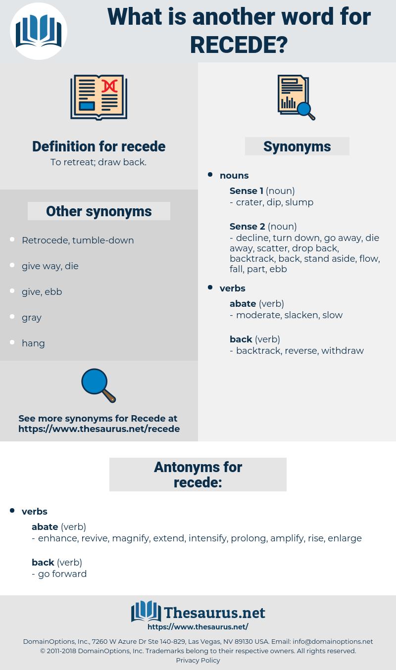 recede, synonym recede, another word for recede, words like recede, thesaurus recede